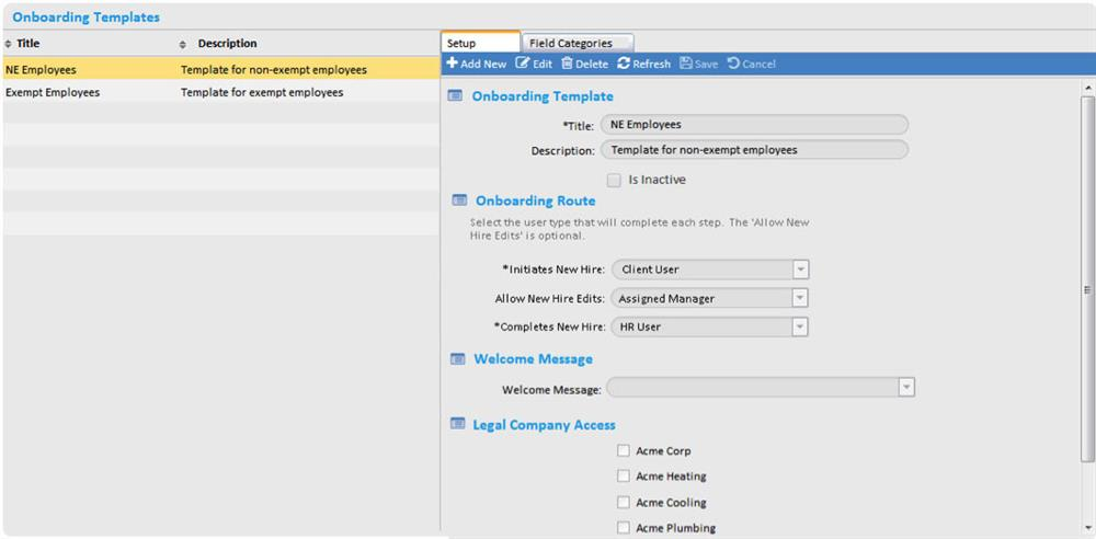 Employee Onboarding Setup Screen Shot